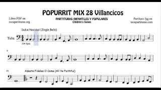 28 Popurrí Mix Villancicos Partituras de Tuba Dulce Navidad Adeste Fideles Los Campanilleros