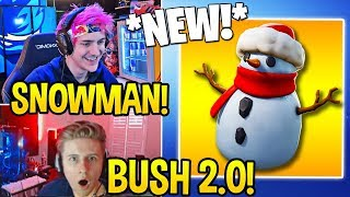 """STREAMERS REACT TO *NEW* """"SNEAKY SNOWMAN"""" ITEM! (UPGRADED BUSH) - Fortnite FUNNY Moments"""