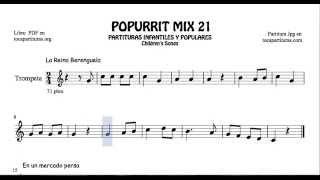 21 de 30 Popurrí Mix Partituras Populares Infantiles de Trompeta La Reina Berenguela Mercado Persa