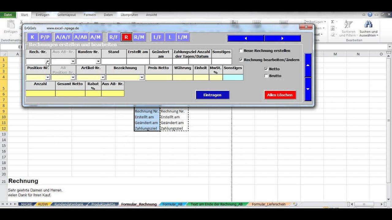 3 Auftragsabwicklung In Excel Vba Formular Anrichten