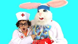 Giant Bunny sick , kids pretend play with doctor toys ,and Johny Johny Yes Papa Nursery Rhymes Song