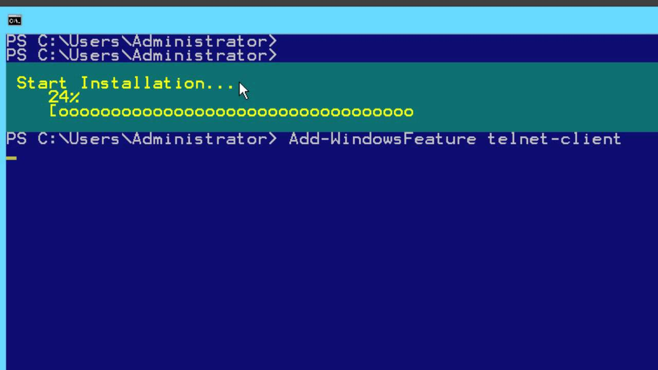Windows Server 2012 – Part 3a: 'Telnet' Is Not Recognized As An Internal or External Command