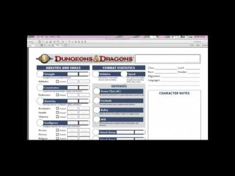D&D 4 Beginners ep 1 - how to download a character sheet