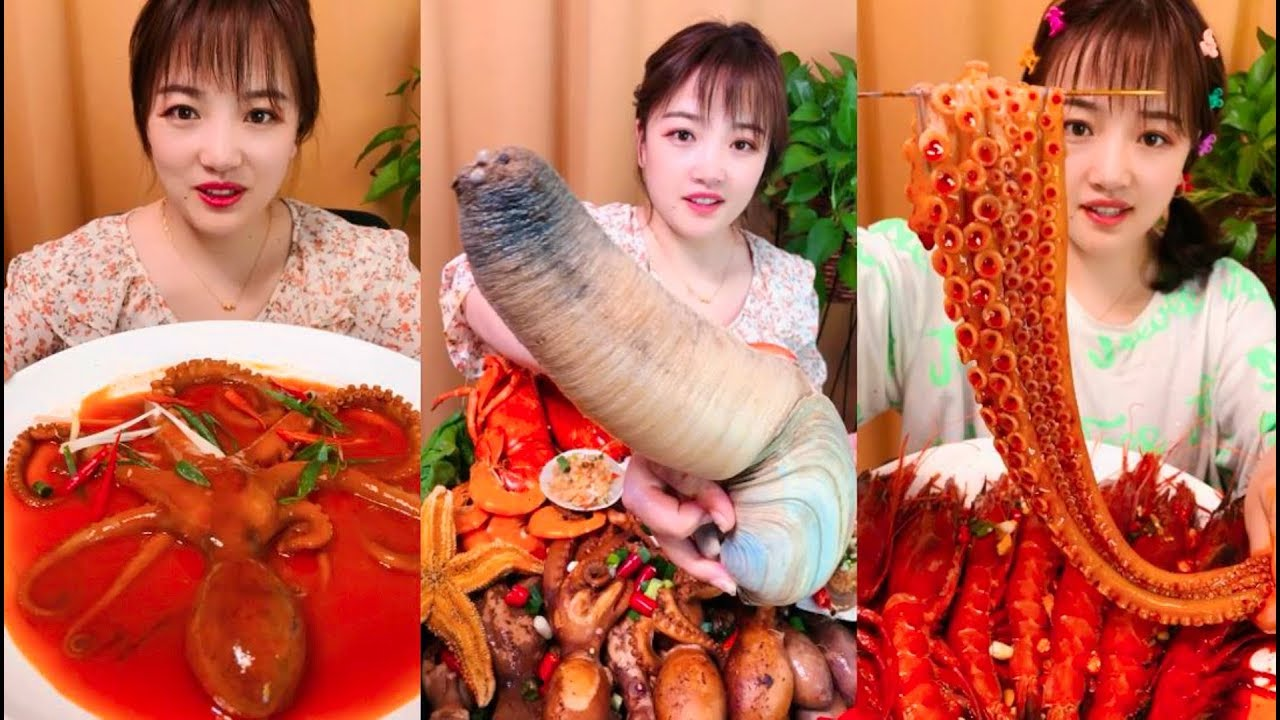 Eat Geoduck, giant octopus  - SPICY FOOD COMPILATION [10]