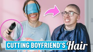 Cutting My Boyfriend's Hair... BLINDFOLDED!