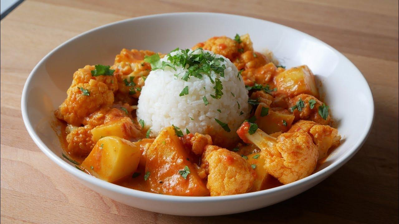 Vegetarisches Kartoffel Blumenkohl Curry Rezept  Potato Cauliflower Curry Recipe  ENG