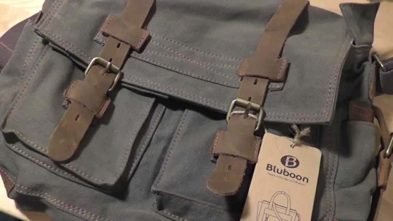 REVIEW: Bluboon Messenger Laptop Bag (Canvas/Leather) - YouTube