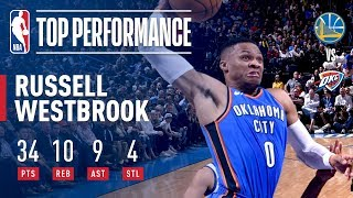 Russell Westbrook Erupts with Near Triple-Double (34/10/9) vs. Warriors | November 22, 2017