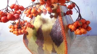 вАЗА из осенних листьев ПОДЕЛКА из природного материала с детьми