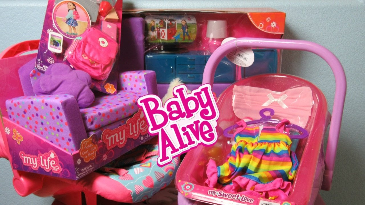 My Life As Living Room Set And Back To School Accessories With Sweet Love Bathtub Car Seat Baby Alive