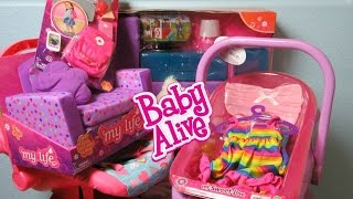 BABY ALIVE Haul+My Life as Living Room Set+Back to School Accessories+My Sweet Love Bathtub+Car Seat