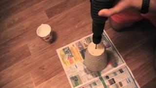 Как просверлить дырку в керамическом горшке.