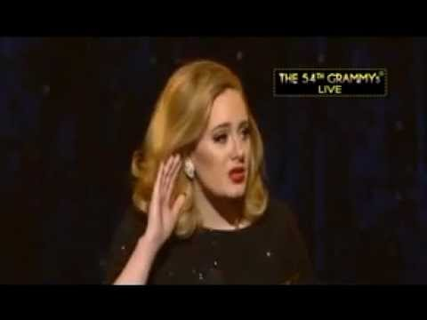 "The 54th Annual GRAMMY Awards Adele wins the best pop solo performance for ""Someone Like You."""