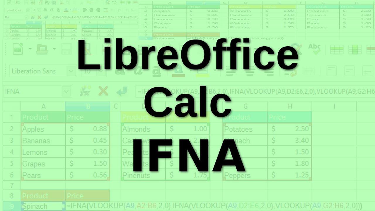 LibreOffice Calc   IFNA function