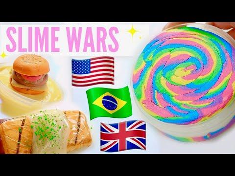 $450 Slime war! USA VS BRAZIL VS UK SLIME PACKAGES REVIEW FAMOUS WORLDWIDE SHOPS