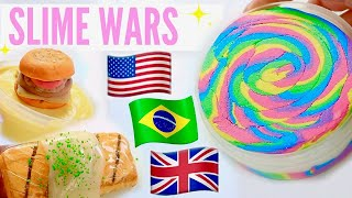 $450 Slime war! USA VS BRAZIL VS UK SLIME PACKAGES REVIEW FAMOUS WORLDWIDE SHOPS