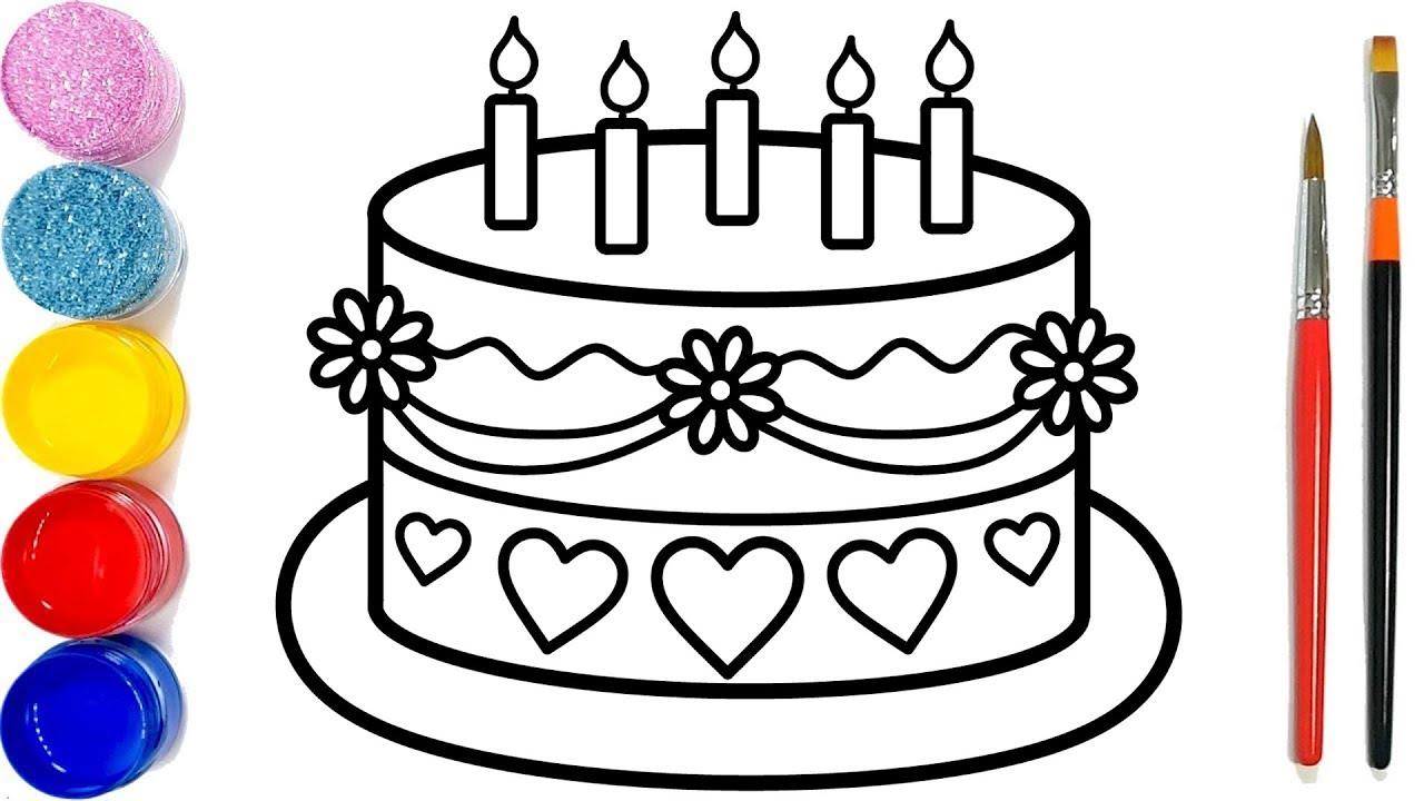 Vẽ bánh sinh nhật đơn giản và tô màu cho bé | Dạy bé tô màu | Kue ulang tahun Halaman Mewarnai