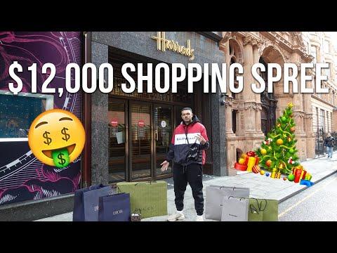$12,000 LUXURY CHRISTMAS SHOPPING SPREE AT GUCCI, DIOR + BALENCIAGA AT HARRODS!!! (INSANE)