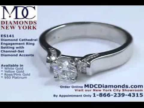 ES141 - Round Diamond Engagement Ring Cathedral setting with diamond accents by MDC Diamonds NYC