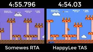 Super Mario Bros. TAS VS. RTA (4:55.796 by somewes, 4:54.03 by HappyLee.)