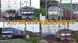 2019/07/06 JR貨物 午後5時以降の貨物列車5本 5075レに桃新塗装機