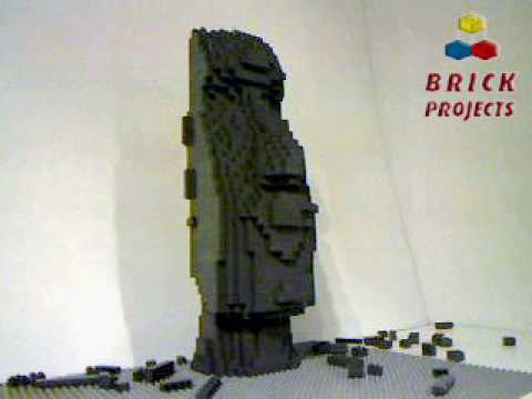 Brick Projects : LEGO Moai Sculpture building time lapse - YouTube