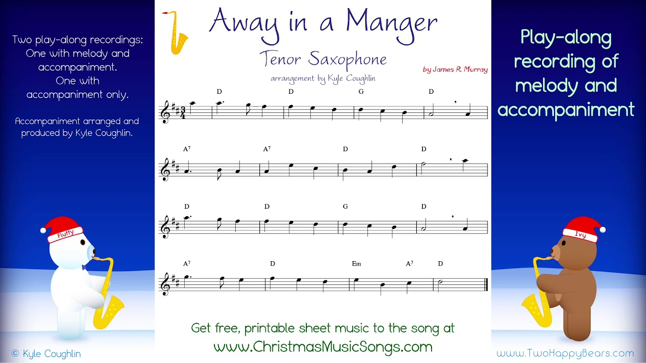 Away in a Manger for tenor saxophone - free sheet music