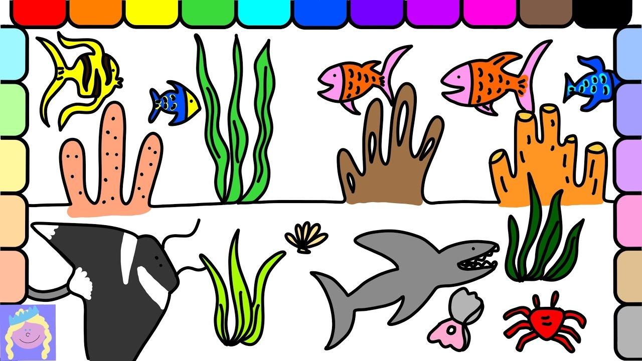 learn how to draw an underwater scene easy drawing and coloring for kids fun learning video - Fun Easy Drawings For Kids
