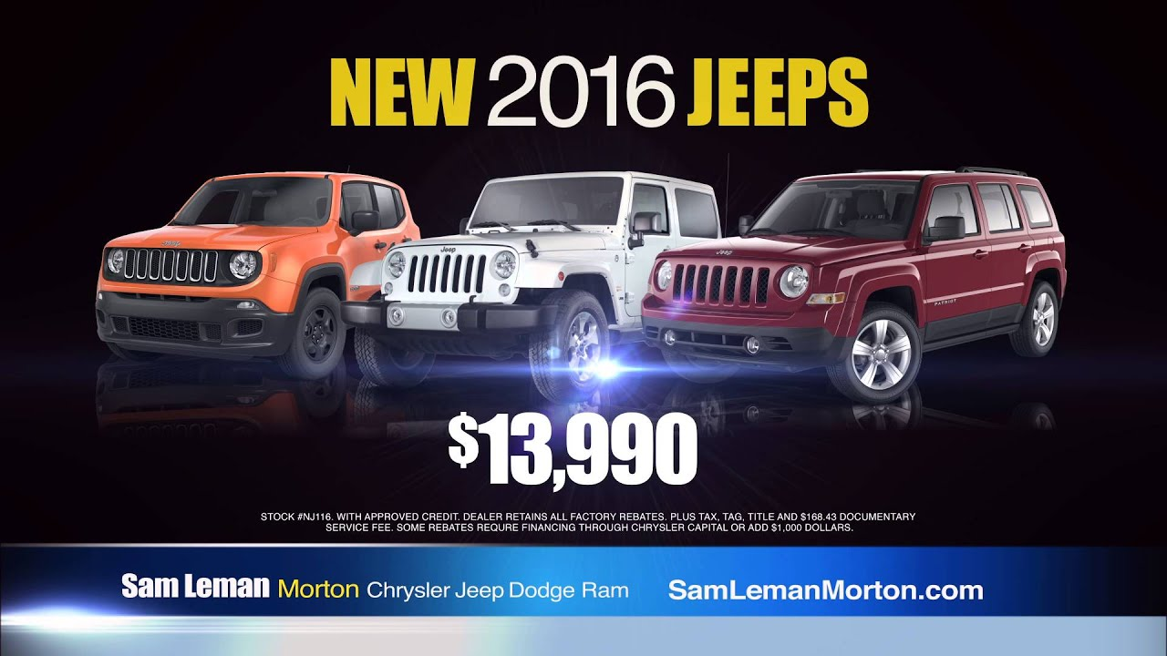 "Sam Leman Chrysler Dodge Jeep Ram Morton ""Jeep Year End Clearance"