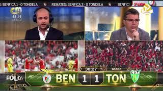 Benfica 2  Tondela 3 - Os Golos e Reaçoes comentados na CMTV