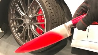 GLOWING HOT KNIFE vs. CAR TIRE!