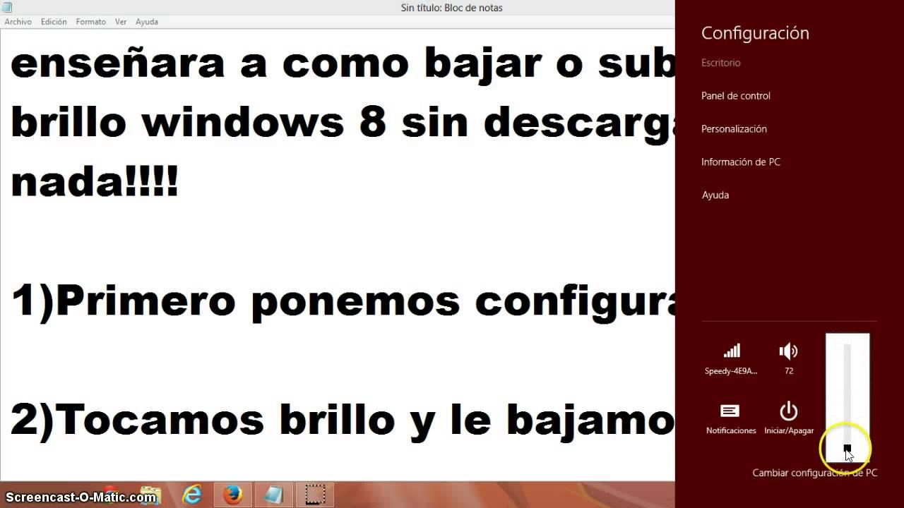 como subir o bajar el brillo de windows 8 facil !!! - YouTube