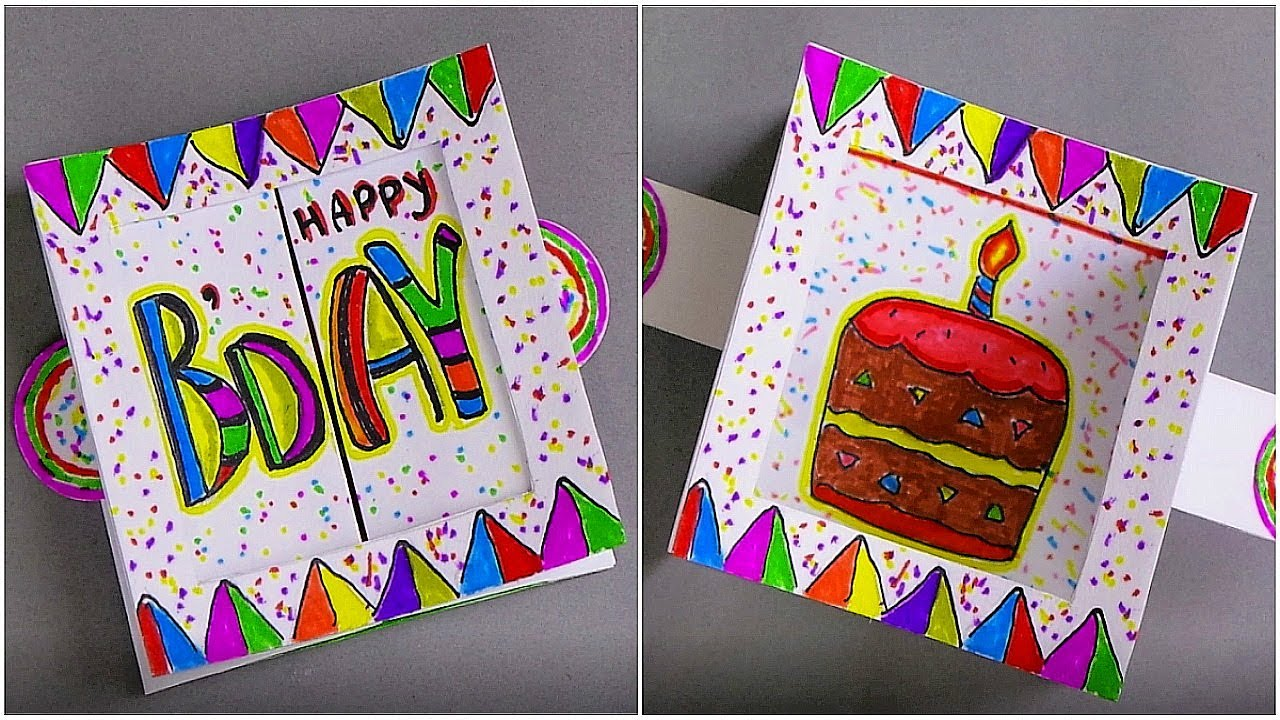 DIY BIRTHDAY CARD / HANDMADE GREETING CARD MAKING IDEAS