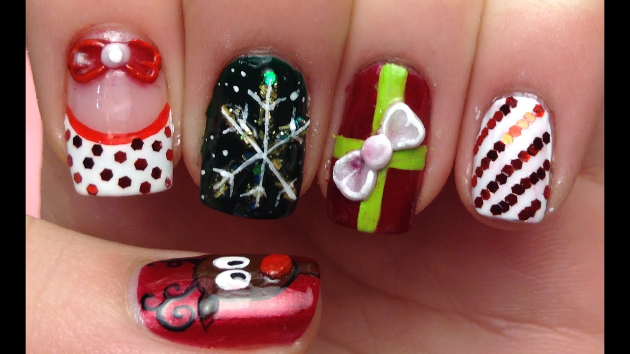 3d Christmas Nail Art Tutorial Youtube
