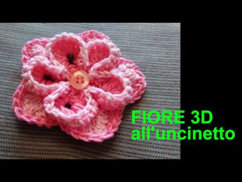 FIORE 3D FACILE E VELOCE ALL'UNCINETTO   tutorial