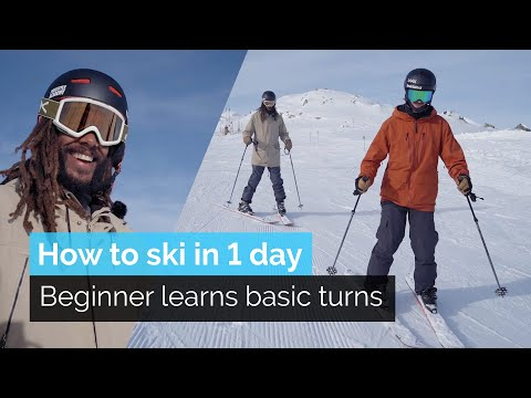 HOW TO SKI IN ONE DAY | BEGINNER LEARNS BASIC TURNS