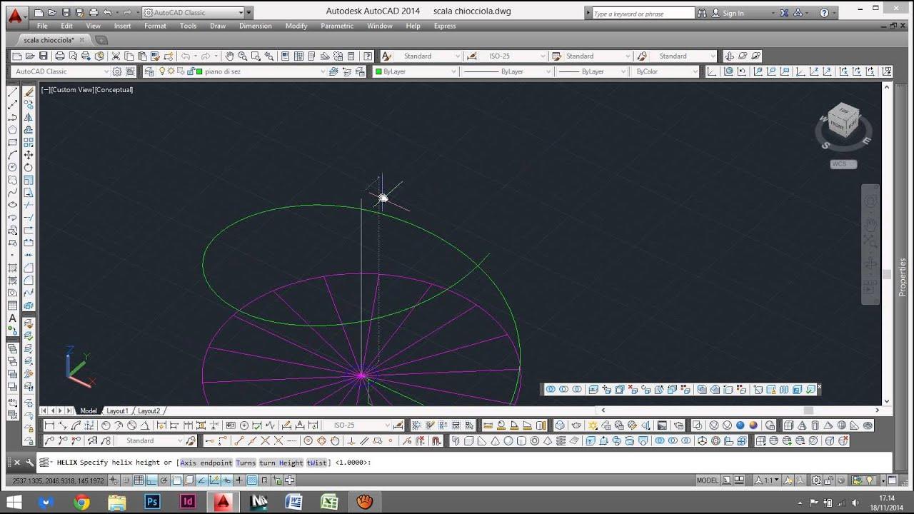 Scala a chiocciola in autocad 3d youtube for Scala a chiocciola 3d