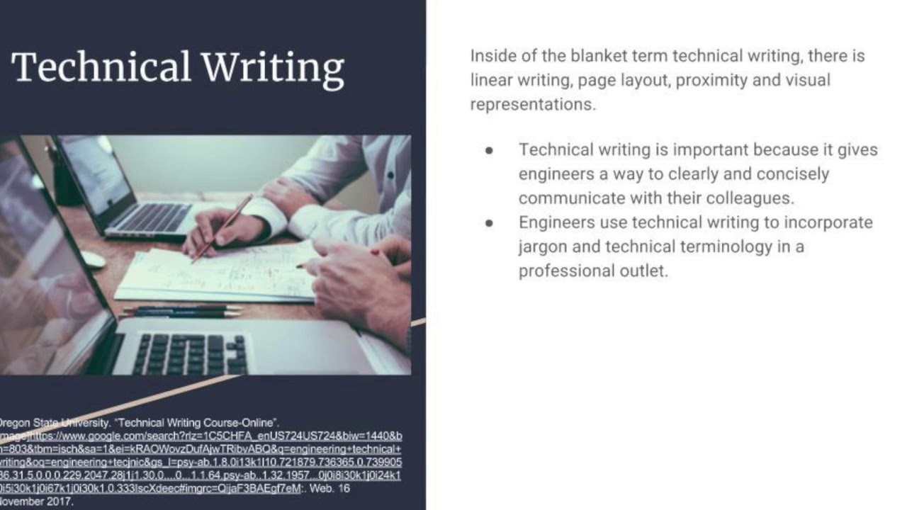 course in technical writing About this course today's employers are actively seeking the next generation of professional technical writers in a fast-moving, ever-changing job market, it's important to enhance your core writing skills with the latest concepts and techniques.
