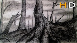 Drawing Forest and Trees Timelapse video, Speed Art with Charcoal