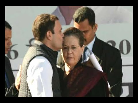 Rahul Gandhi kisses mother Sonia Gandhi's forehead before his first speech as Congress Pre