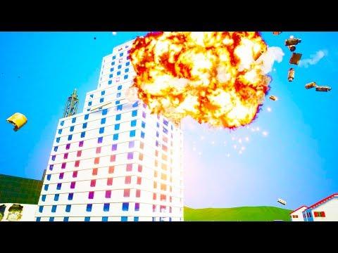 NUCLEAR MISSILE STRIKE HITS MASSIVE SKYSCRAPER! - Brick Rigs Workshop Creations Gameplay