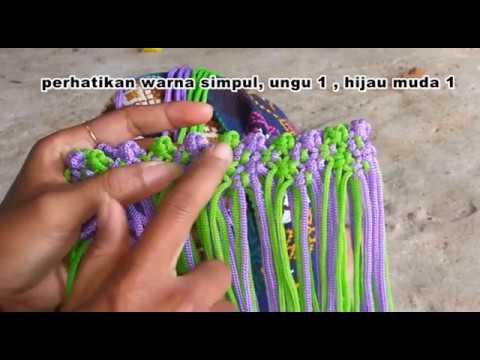tutorial membuat tas tali kur motif pagar 2 warna