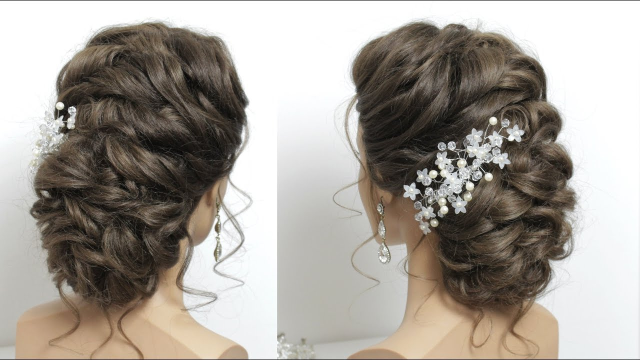 beautiful bridal hairstyle for long hair. messy style