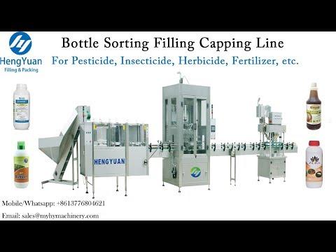 500ml-1Liter Bottle Unsrambling Filling Capping Line used for Dishwashing Liquid Bottling Machines