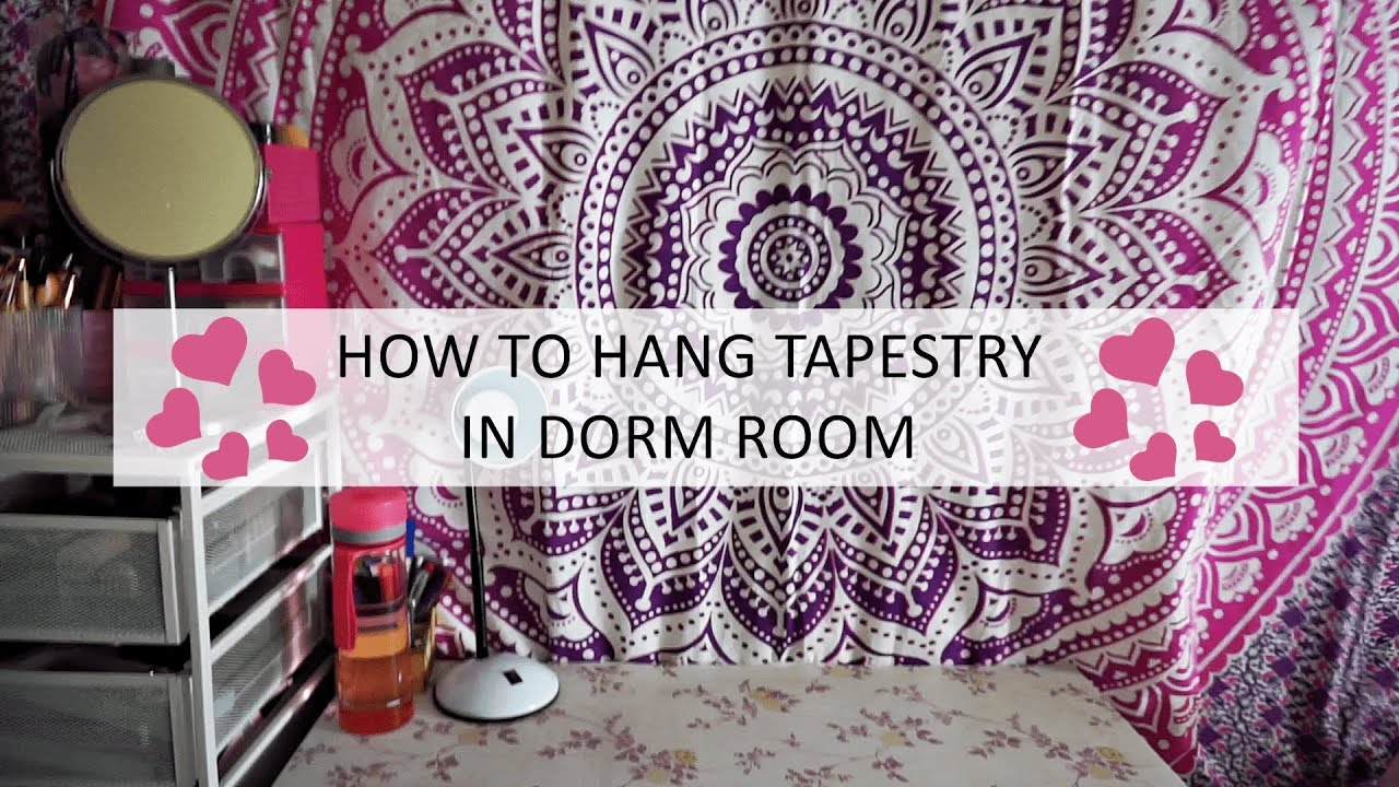 Diy How To Hang Tapestry Wall In Dorm Room No Nails Or Hooks