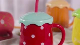 뚜껑있는 과일 머그잔 세라믹 감성 인테리어 예쁜 컵 업…