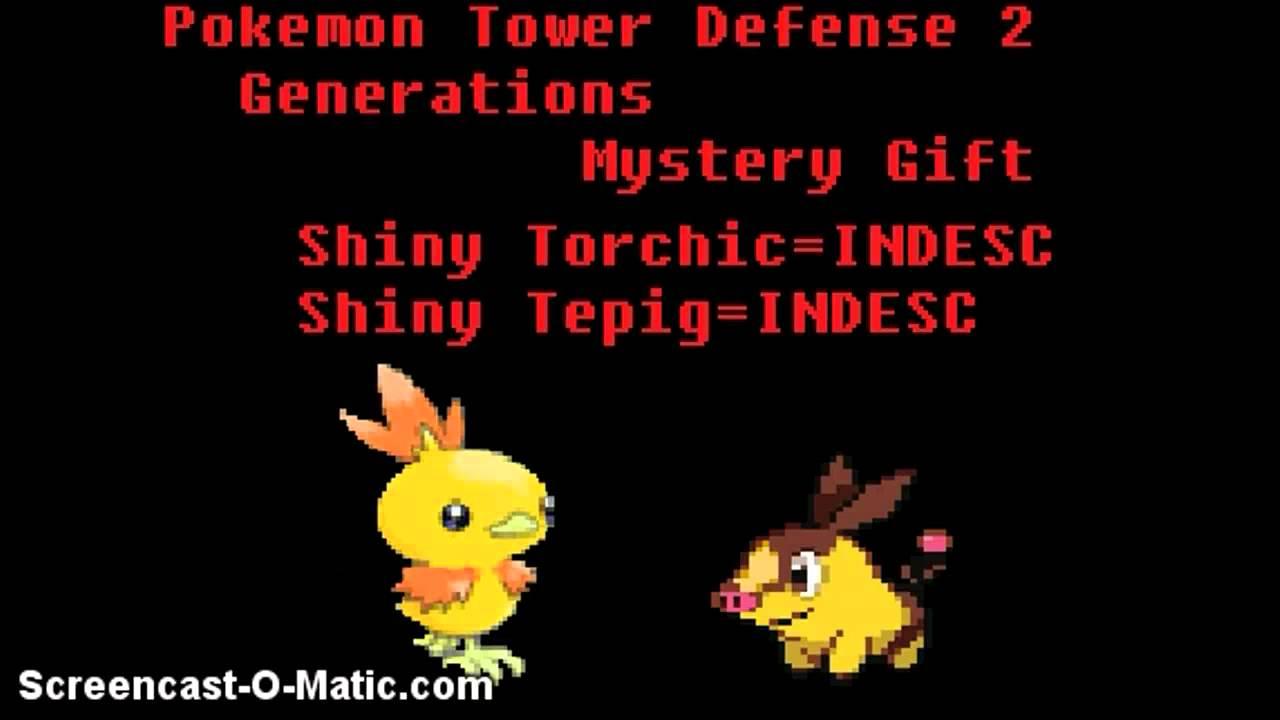 Pokemon Tower Defense 2 Generations Mystery Gift Shiny Shadow Torchic Tepig Youtube