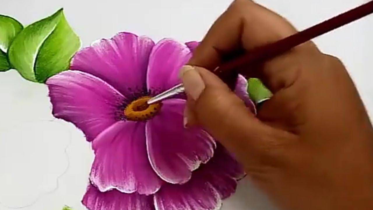 Pintura Textil Pintura En Tela Como Pintar Flores Fácil 2018 Youtube