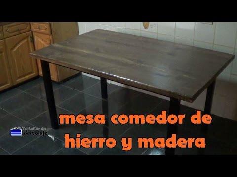 Cómo hacer una mesa comedor de hierro y madera - YouTube