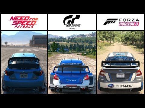NFS Payback VS GT Sport VS Forza Horizon 3 - SUBARU RALLY BATTLE